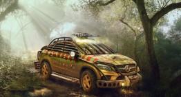 Un Mercedes care se luptă cu dinozaurii