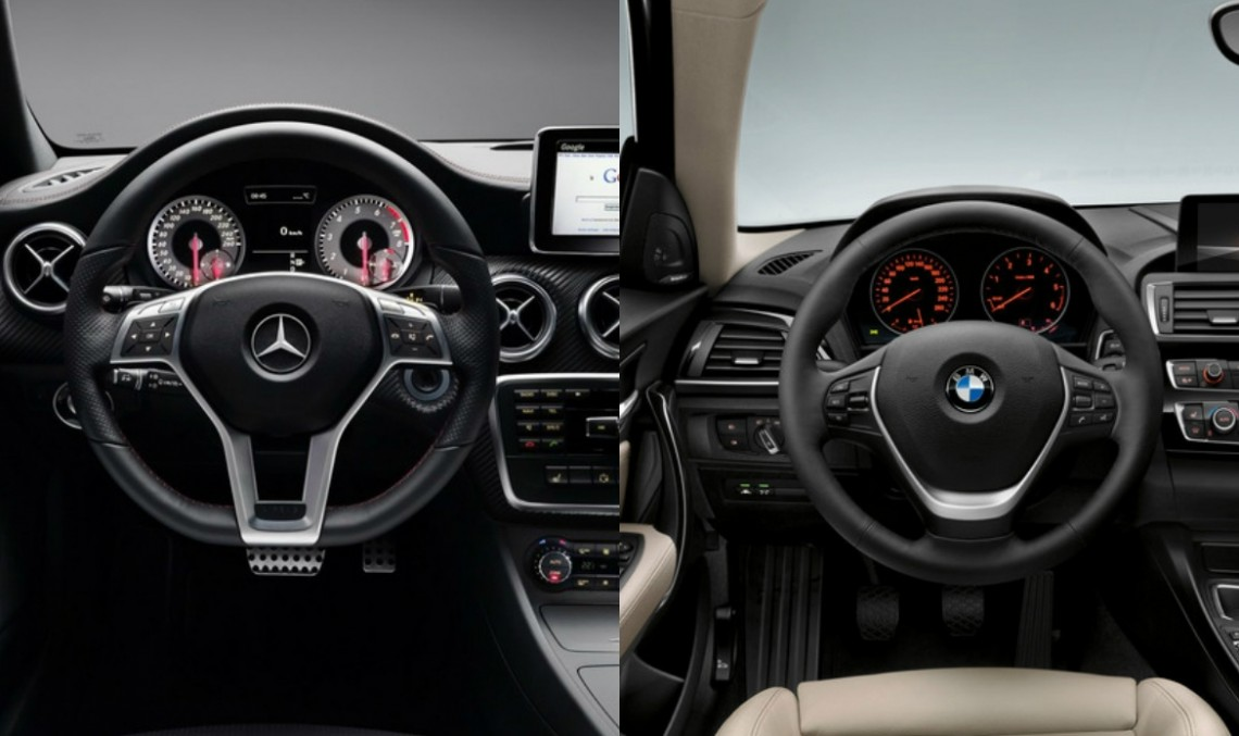 Comparație statică: Mercedes-Benz A-Class vs BMW Seria 1 facelift