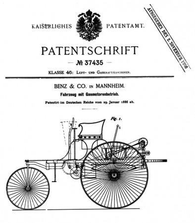 Benz Patent-Motorwagen, Modell 1,  Patentschrift Nr. 37435