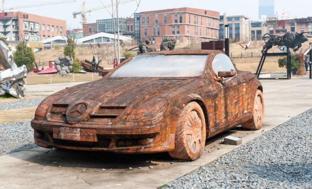 Car made out of bricks, Shanghai, China - 01 Mar 2015