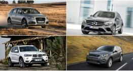 Mercedes GLC vs Audi Q5, BMW X3 și LR Discovery Sport: prima comparație statică