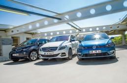 Mercedes B-Class Electric Drive vs BMW i3 și VW e-Golf într-un duel marca Auto motor und Sport