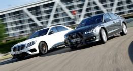 Ciocnirea titanilor V8. Mercedes-AMG S 63 4Matic vs Audi S8