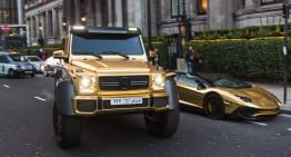 Flota de aur: Un șeic saudit se plimbă cu un Mercedes G 63 AMG 6×6 prin Londra