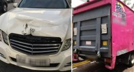 Bombă pe roți! Un șofer de camion atacă un Mercedes-Benz E-Class