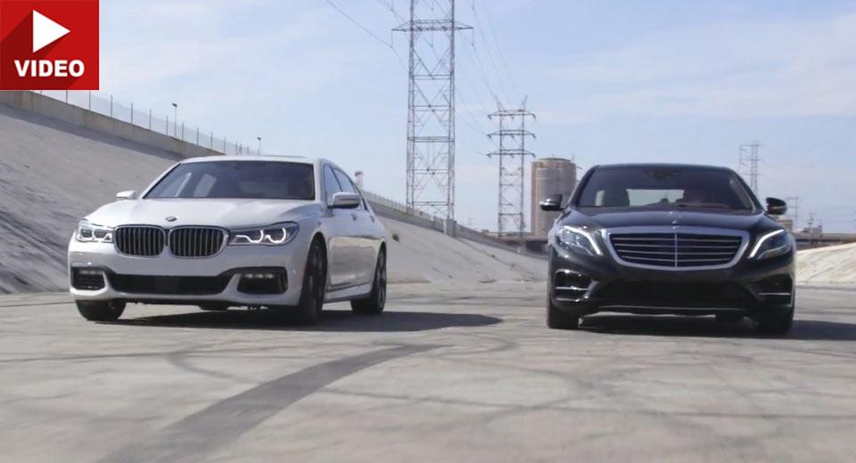 Ciocnirea titanilor: Mercedes S 550 versus BMW 750i (video)