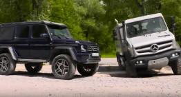 Alien vs Predator – Mercedes-Benz G 500 4×4² și Unimog U5030 se joacă în off-road