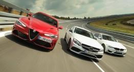 SUPER LIMUZINELE: Alfa Romeo Giulia QV vs Mercedes-AMG C 63 S vs BMW M3