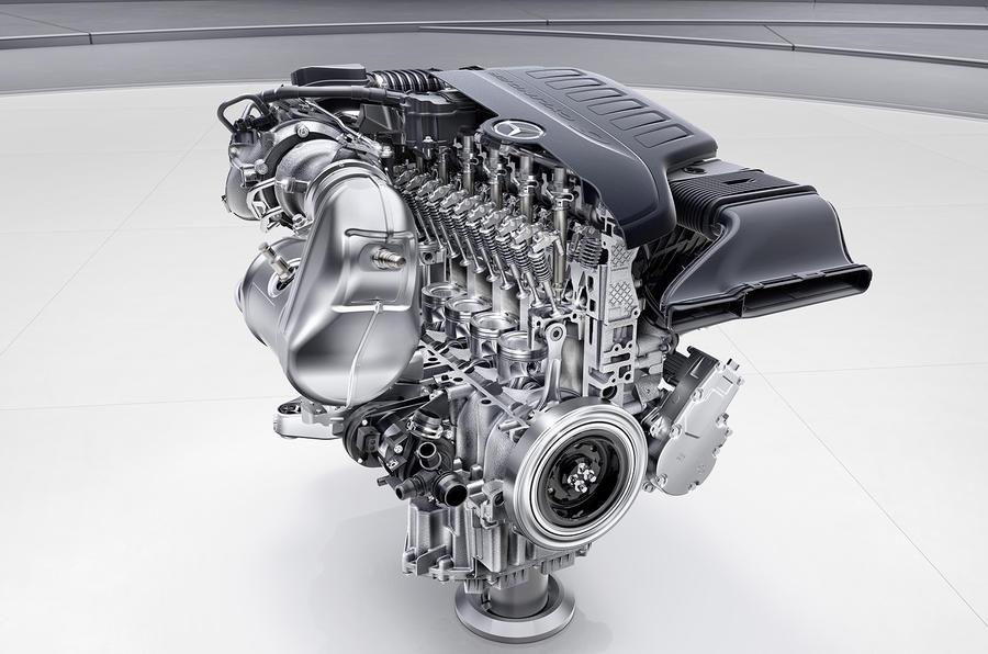 Mercedes-Benz Sechszylinder-Benzinmotor M256, Schnittmotor. // M