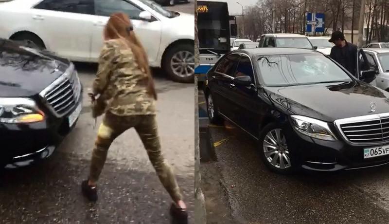 Nu te pune cu nebune! O șoferiță face praf Mercedes-ul celui care a enervat-o în trafic!