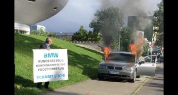 Distrugător de profesie – Și-a dat foc la BMW după ce un proprietar de Mercedes și-a făcut praf limuzina cu crosa de golf